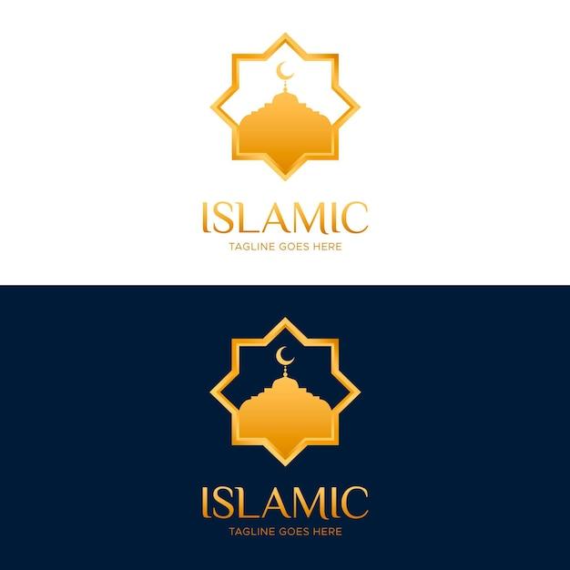 Исламский логотип в двух цветах с золотыми элементами Бесплатные векторы