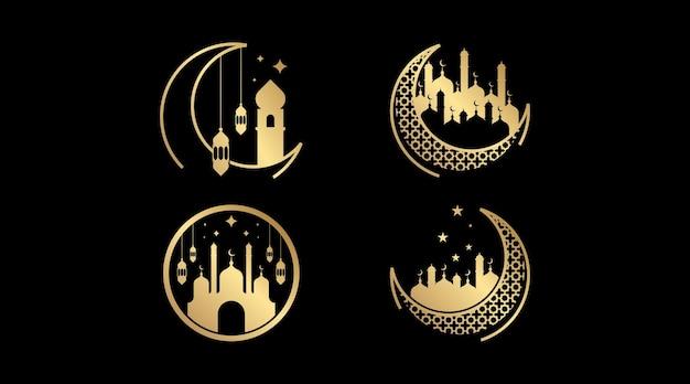 Набор исламских логотипов. исламский шаблон логотипа. Premium векторы
