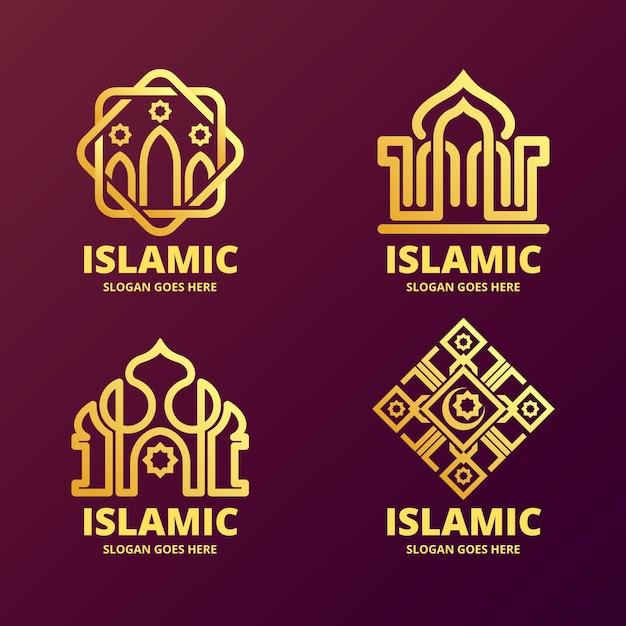 モスクとイスラムのロゴセット 無料ベクター