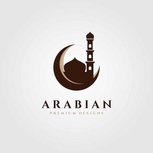 Исламский символ логотипа со зданием мечети Premium векторы