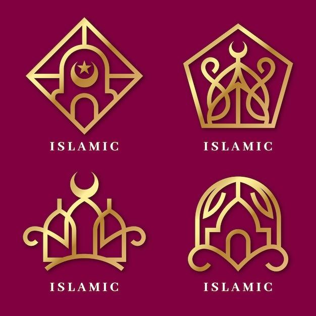 Исламский логотип набор шаблонов Бесплатные векторы