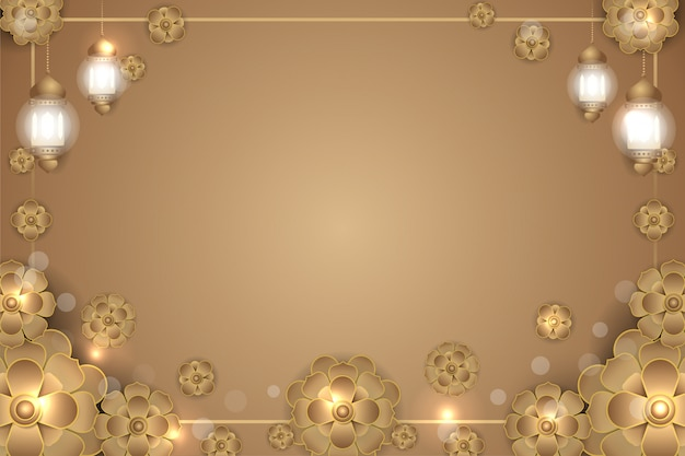 Islamic mandala flower gold background Premium Vector
