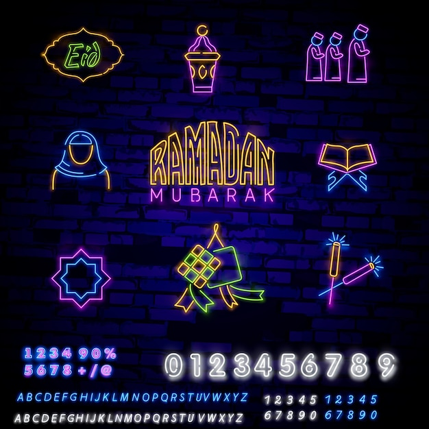 Islamic neon signs set with koran Premium Vector