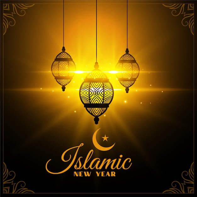 Islamic new year card glowing with lanterns Free Vector