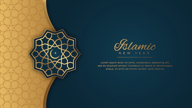 Islamic new year happy muharram blue background in ornamental elegant style with golden ornament Premium Vector