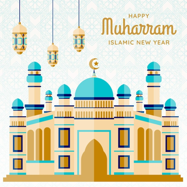 Islamic new year illustration with castle Free Vector