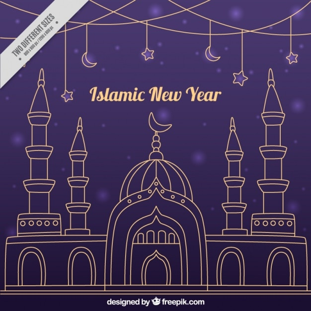 islamic new year background with mosque in flat design vector picker