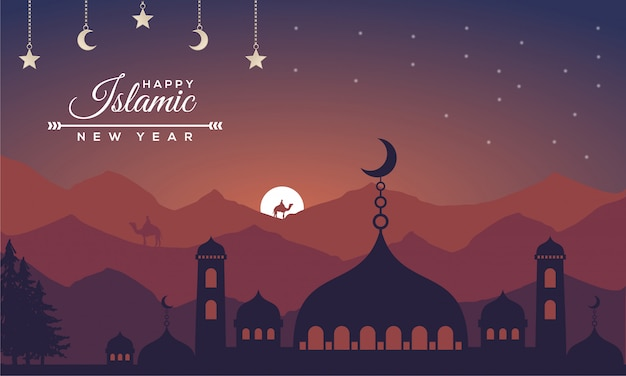 Islamic new year with lanscape concept background Premium Vector