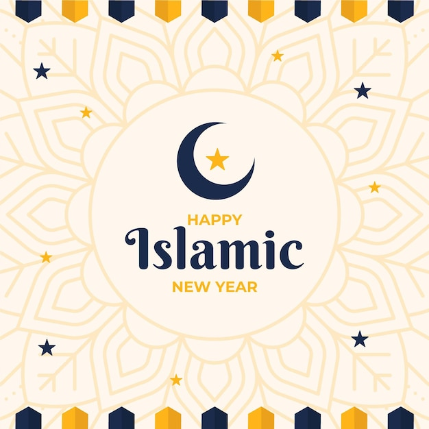 Islamic new year with stars and crescent moon Free Vector