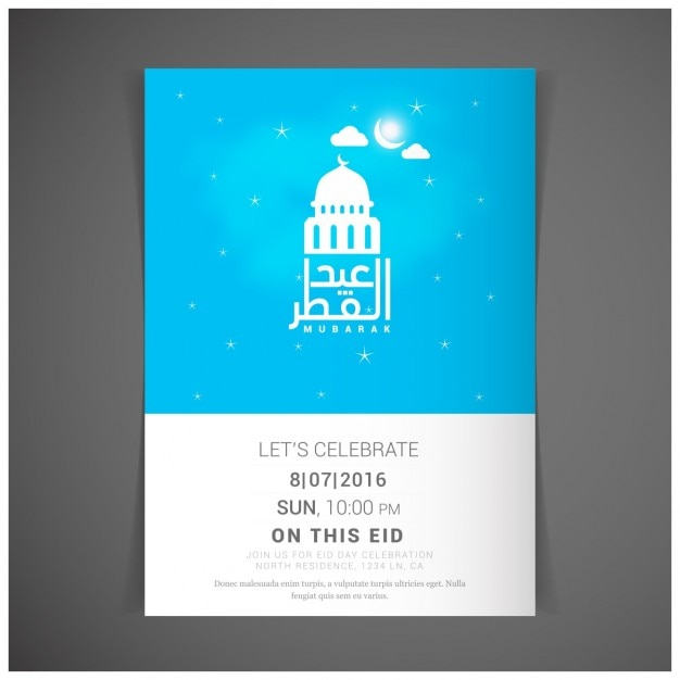 islamic poster in blue color vector free download