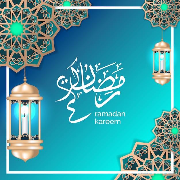 Islamic ramadan greeting with crescent moon and gold lantern Premium Vector