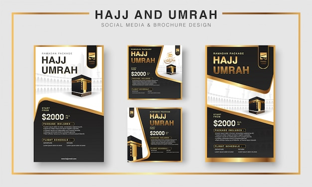 イスラムのラマダンハッジ&ウムラパンフレットまたはチラシとソーシャルメディアテンプレートの背景デザイン祈りの手とメッカのイラスト。 Premiumベクター