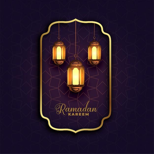 Islamic ramadan kareem background with lamps Free Vector