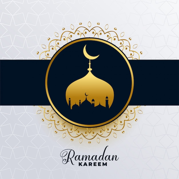 Islamic ramadan kareem golden mosque background Free Vector