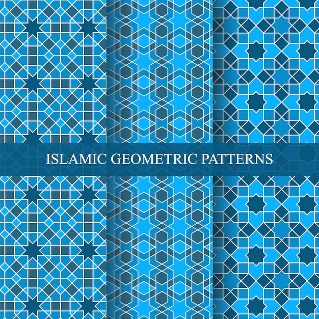 Islamic style seamless geometric patterns collection Premium Vector