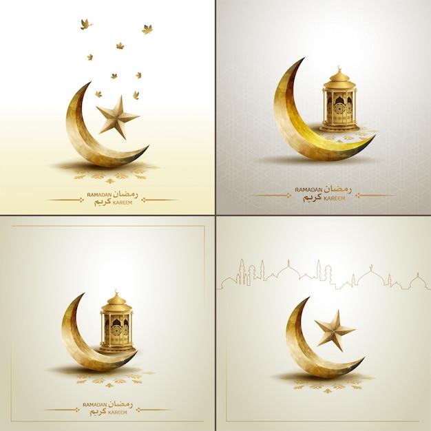 Islamic templates gold crescent moon Premium Vector