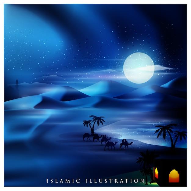 Islami dengan oase di tanah arab dan wisatawan dengan unta Vektor Premium