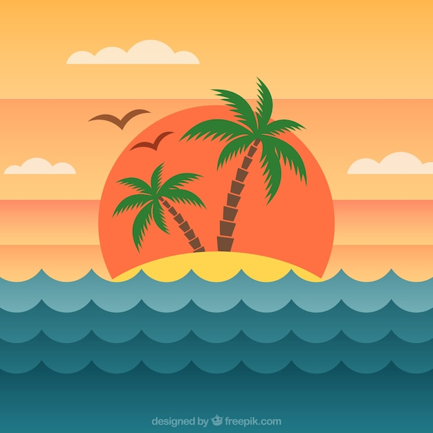 Island background at sunset in flat\ design