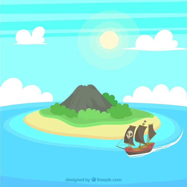 Island background and pirate ship Premium Vector
