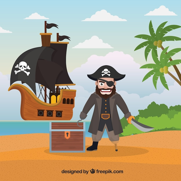Island background with pirate and treasure Free Vector