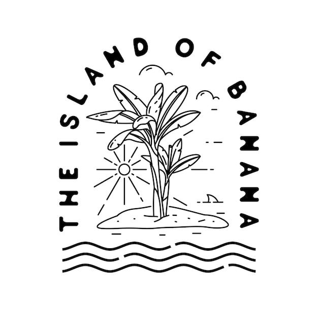 Island of banana logo vintage monoline badge Premium Vector