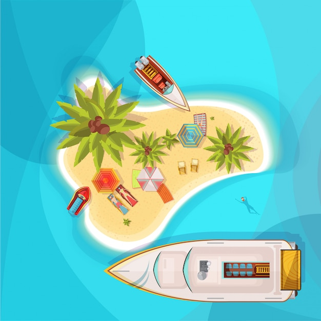 Island beach top view with blue sea, people on loungers under parasols, boats, palm trees vector illustration Free Vector