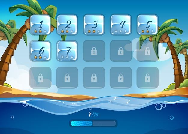 Островная игра с пользовательским интерфейсом ui в мультяшном стиле. игра в приложении, море и приключения, вода и волна, игра и пляж Бесплатные векторы