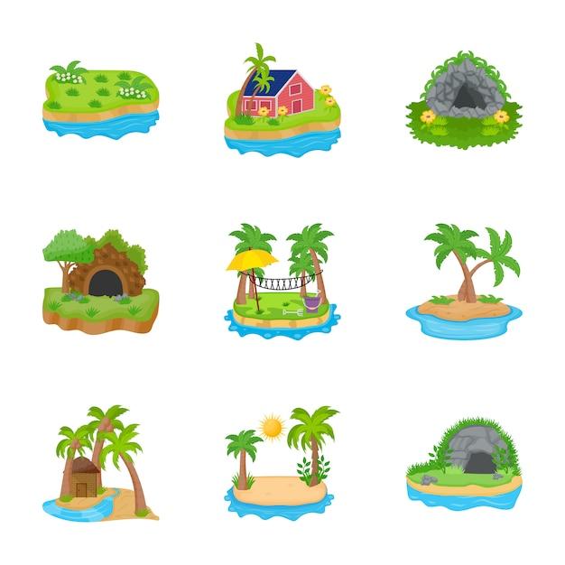 Island icons vector Premium Vector