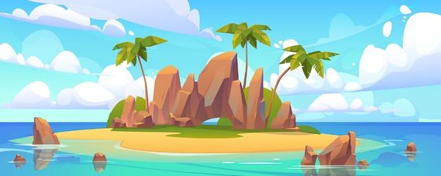 Isola nell'oceano, isola disabitata con spiaggia sabbiosa Vettore gratuito