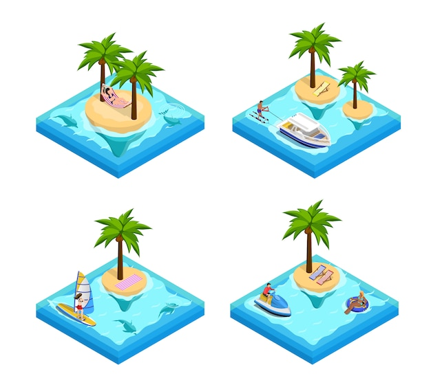 Island vacation isometric set Free Vector