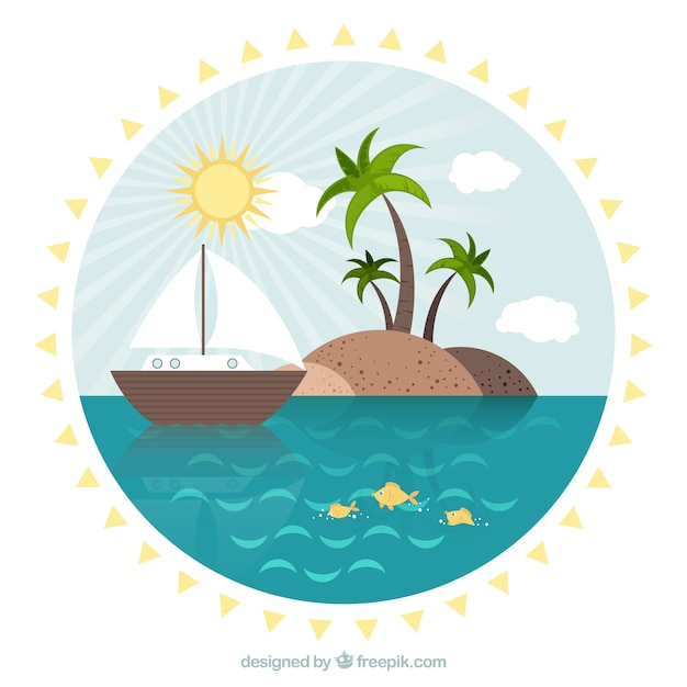 Island with a boat summer landscape in flat\ design