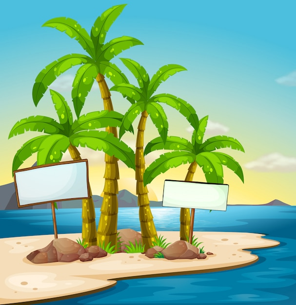 An island with signboards Free Vector