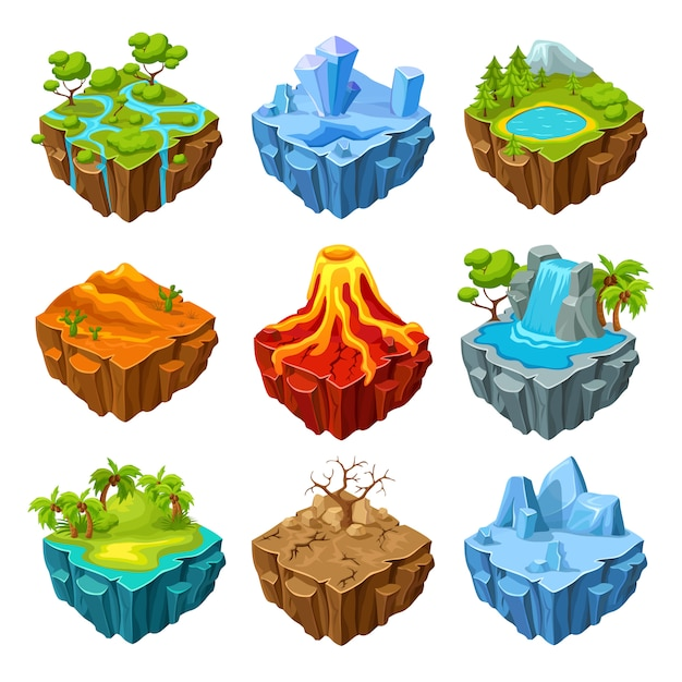 Islands of computer game isometric set Free Vector