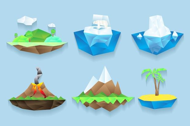 多角形のスタイルで設定された島々。 無料ベクター