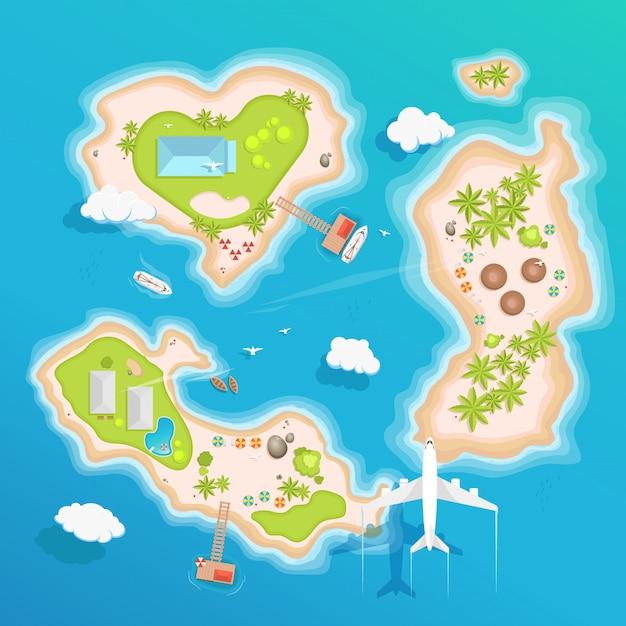 Острова вид сверху, туристический туризм. Premium векторы