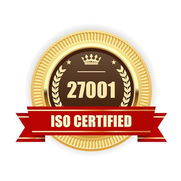 Iso27001認定メダル-情報セキュリティ管理 Premiumベクター