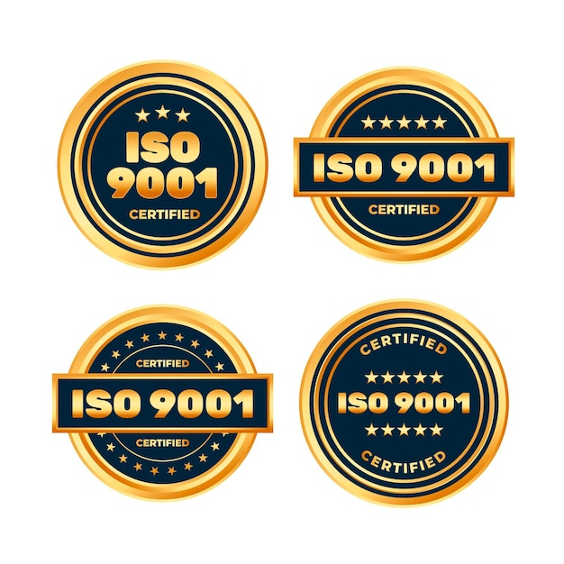 Iso certification badge collection Free Vector