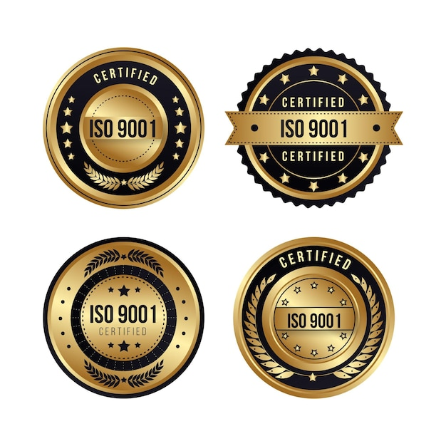 Iso certification badge collection Premium Vector