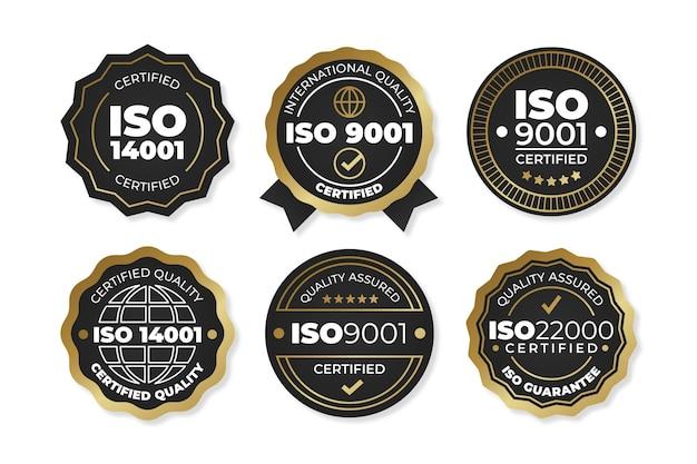 Collezione di badge di certificazione iso Vettore gratuito