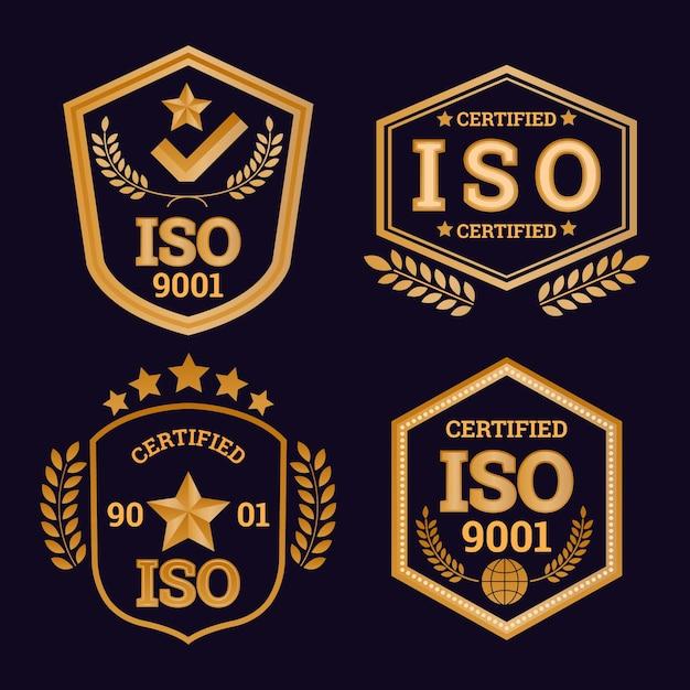 Коллекция значков сертификации iso Бесплатные векторы