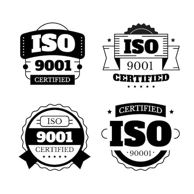 Коллекция марок сертификации iso в черно-белом Premium векторы