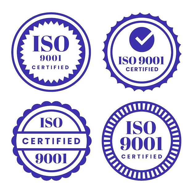 Коллекция штампов сертификации iso Бесплатные векторы