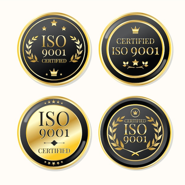 Iso certification stamp luxury gold Free Vector