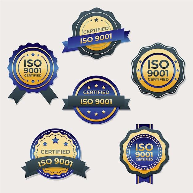 Сертификационный штамп iso с лентой Premium векторы