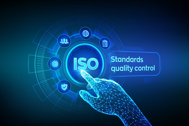 Iso standards quality control . robotic hand touching digital interface. Premium Vector