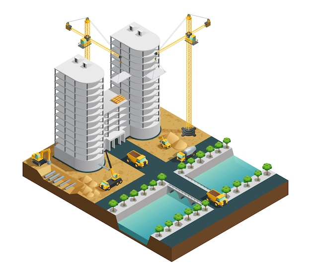 白い背景のisoの運河構成の近くの多くの階建てのモダンな建物の建設プロセス 無料ベクター