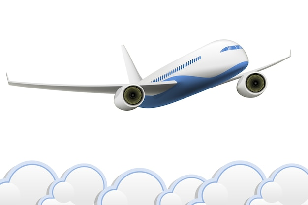 Isolated aeroplane above the clouds Free Vector