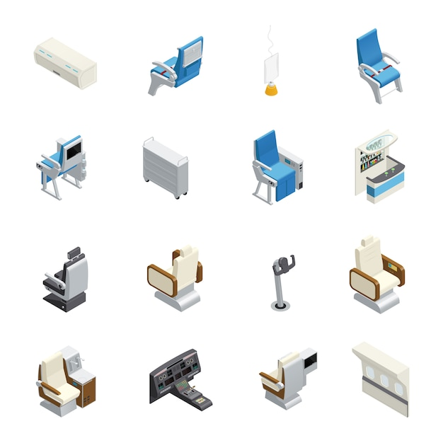 Isolated airplane interior isometric icon set with elements seats and equipment Free Vector