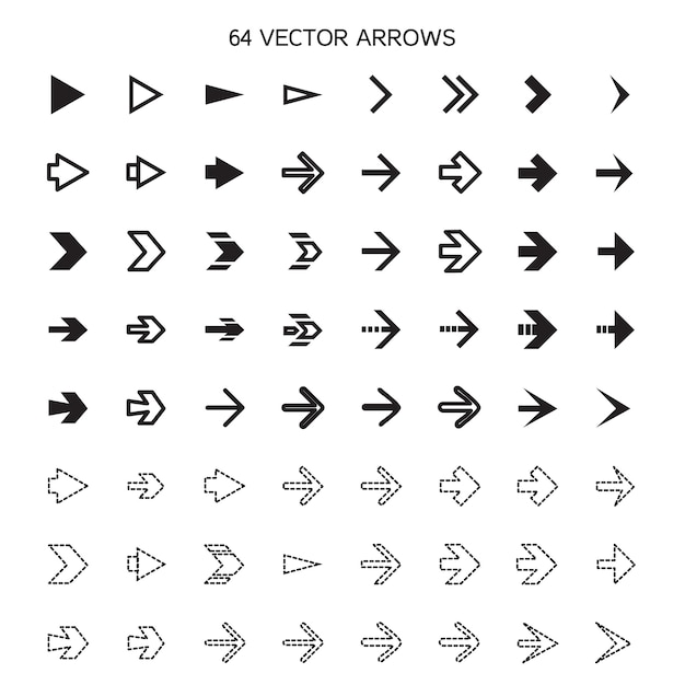Isolated arrows set, undo and previous buttons Premium Vector