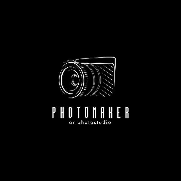 孤立した黒い写真カメラのイラスト。プロの写真家機器のロゴ。 Premiumベクター